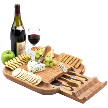 Bamboo Cheese Board with 4 Cheese Tools in a Slide Out Hidden Drawer