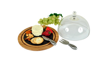 Provence Bamboo & Slate Cheese Board with Glass Dome